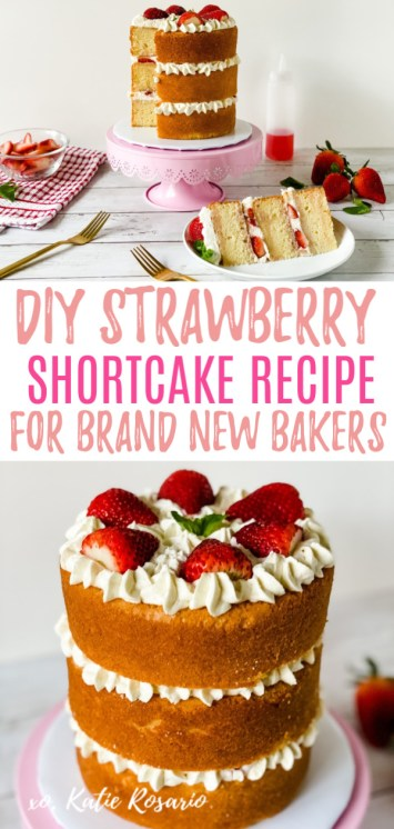 """Looking for a simple yet delicious dessert? This strawberry shortcake """"cake"""" is made with fluffy vanilla cake layers, stabilized whipped cream, fresh strawberry slices, and sweet strawberry syrup. It's a freaking delicious treat that lends itself best to being turned into a cake. It makes the perfect summer dessert and easy enough for anyone to make! #xokatierosario #strawberryshortcake #strawberrycake #summerdesserts #easydessertrecipe #cakedecoratingtips"""