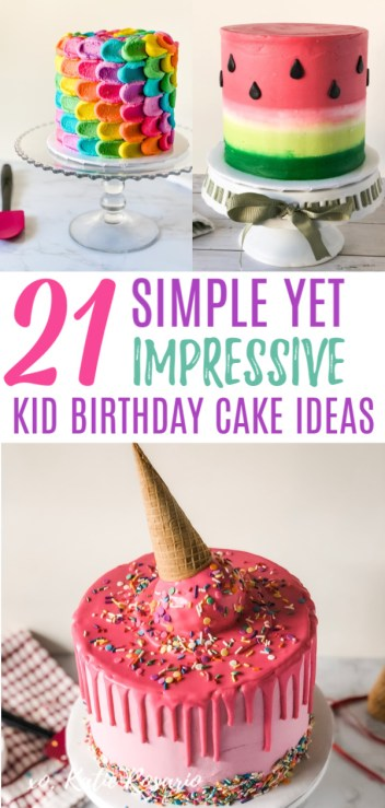 Need cool and creative kid birthday cake ideas? These kid cake ideas are perfect for beginner bakers, and your kids can help too! Each cake design has its own easy to follow tutorial and video to help you succeed. Here's to all the fantastic kid birthday cakes you'll make! #xokatierosario #kidsbirthdaycake #kidcakesideas #buttercreamcake #cakedecoratingtips