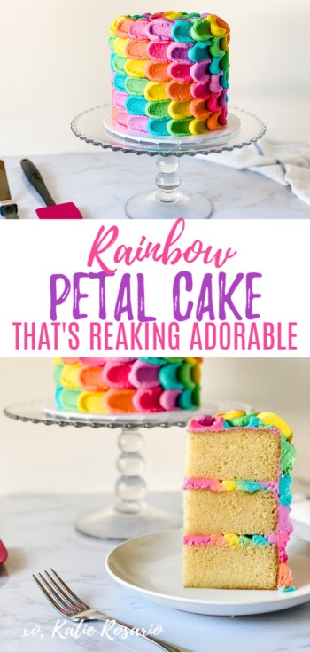 Calling all the rainbow lovers! Learn how to make this adorable rainbow petal cake. This rainbow petal cake is made with fluffy vanilla cake layers and rainbow vanilla buttercream. The vanilla cake is a simple recipe to follow and perfect for beginners. This technique can be done on any cake, but what makes this cake so unique is how to alternate the colors to create a spiral effect. I can't wait to see your rainbow petal cake creations! #xokatierosario #rainbowcake #rainbowpetalcake #buttercreamcake #rainbowcakedesign #cakedecoratingtips