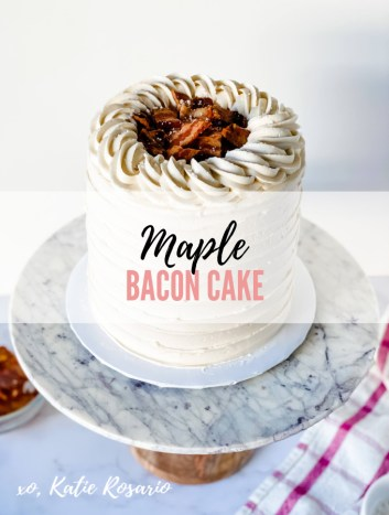 Here's a cake that all breakfast lovers will devour. This Maple Bacon Cake is made with tender maple cake layers filled with maple buttercream, crispy bacon, and sea salt flakes. The salty bacon cuts through all the sweetness and tastes incredible with the sweet maple. #xokatierosario #katierosariocake #cakedecoratingtips #maplebaconcake #maplebacon