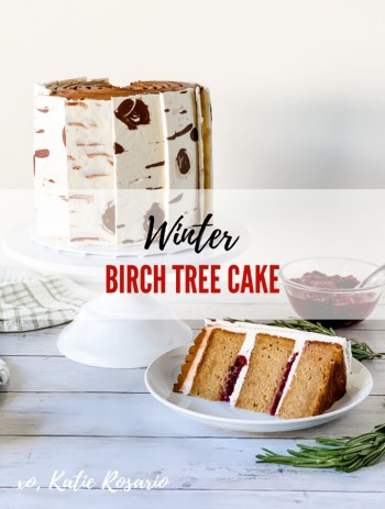 Learn how to make this freaking delicious Winter Birch Tree Cake! This gorgeous Winter Birch Tree Cake is made with gingerbread cake layers filled with cranberry sauce and vanilla buttercream. And the real show stopper is the white chocolate birch tree bark on the outside of the cake. Here's how to make this Winter Birch Tree Cake that'll make your home happy for the holidays! #xokatierosario #winterbirchtree #gingerbreadcake #cakedecoratingtips #christmascakes
