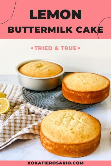 Are you looking for a super tasty lemon cake recipe? Seriously, anyone can make this lemon buttermilk cake recipe. Created by Katie Rosario, XOKatieRosario creates beautiful cake decorating techniques that are easy for beginners and strategically designed for any home baker. #xokatierosario #katierosaiocakes #lemoncake #buttermilkcake #cakerecipes #cakedecoratingcourse #homebakingcourse