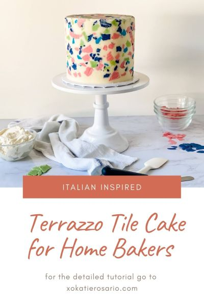 This Terrazzo Tile Cake is made with light and fluffy chocolate cake layers, whipped vanilla buttercream, and organic chocolate candy pieces. I'll show you the exact steps to make this one-of-a-kind cake at home. Created by Katie Rosario, XOKatieRosario creates beautiful cake decorating techniques that are easy for beginners and strategically designed for any home baker. #xokatierosario.com #cakedecoratingcourse #xokatierosario #katierosariocakes #terrazzocake #buttercreamcake