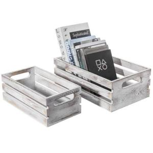 Whitewashed Wood Nesting Storage Crates, Set of 2