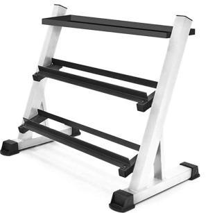 Marcy Pro Dumbbell Storage Rack (White with shelf)