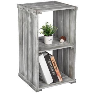 Rustic Gray Wood Crate Style Shelf