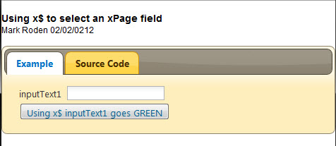 """jQuery selector function for xPages – x$(""""#{id:inputText1 ..."""