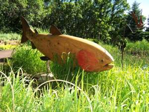 wooden fish sculpture