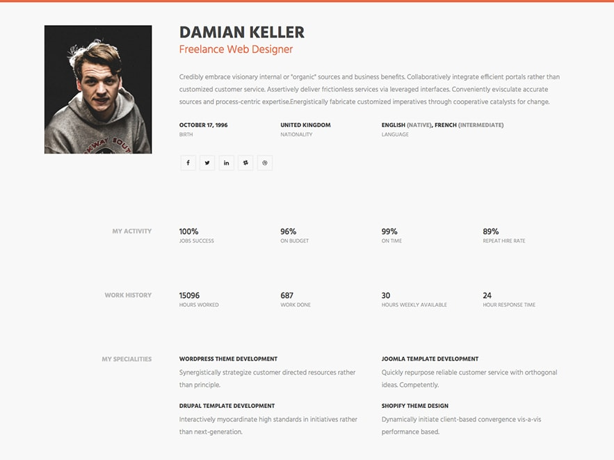 MY Profile U2013 Professional Free HTML Resume Template