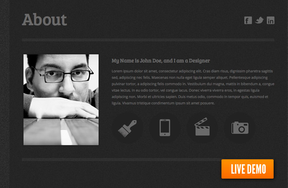 generally its a responsive html resume template with the black background this is a one page template whether the header will express your identity