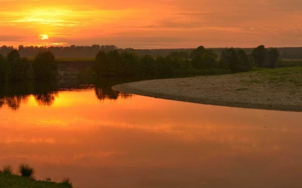 Картинки закат скачать для рабочего стола, фотографии река