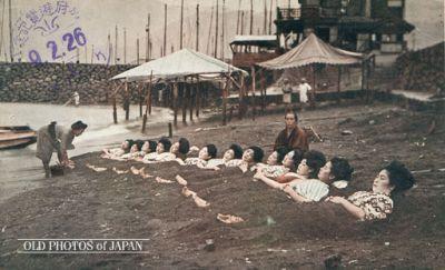 Hot Sand Bath: Photo from OldPhotoJapan.com