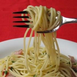 Calamete fork makes eatting spaghetti easy
