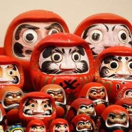 The Daruma dolls have real eyes.