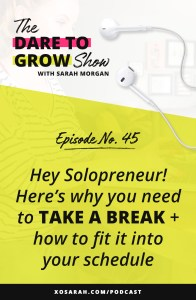 Hey Solopreneur - if you're feeling overwhelmed, stuck, stalled, and like you have no idea what you're doing, then it's time to take break. Click through to learn why time off is so important for us solo business owners and how to start adding time off into your months asap!