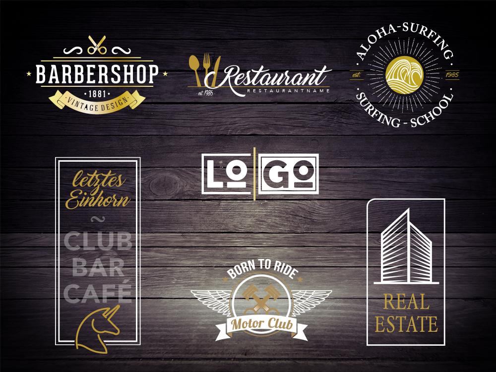 Beispiele für diverse Logokreationen.