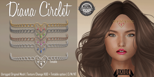 OXIDE Diana Circlet http://maps.secondlife.com/secondlife/Nouveaux/213/100/23