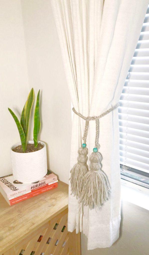 DIY Braided Yarn Curtain Tiebacks with Tassels | xoxojackie