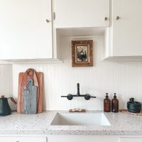 Kitchen Update: DIY Beadboard Backsplash with Wallpaper