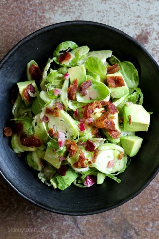 Shredded-Raw-Brussels-Sprout-Salad-with-Bacon-and-Avocado