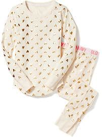 Patterned Sleep Set for Girls - All-over Hearts