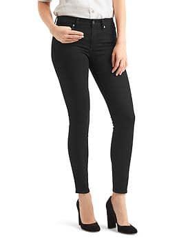 Mid rise true skinny jeans - black