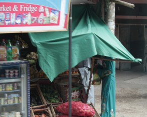 Woman shops under cover of awning
