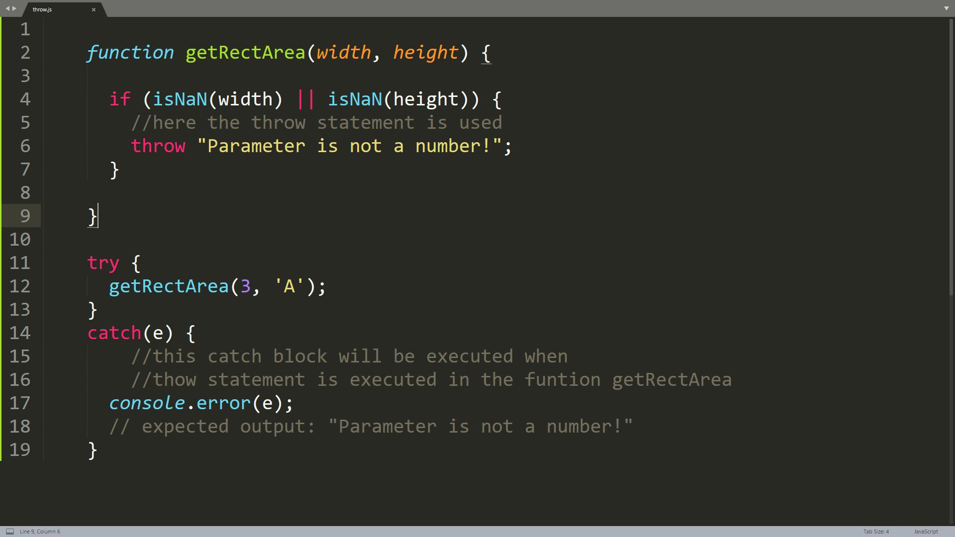 JavaScript Throw statement execution screenshot