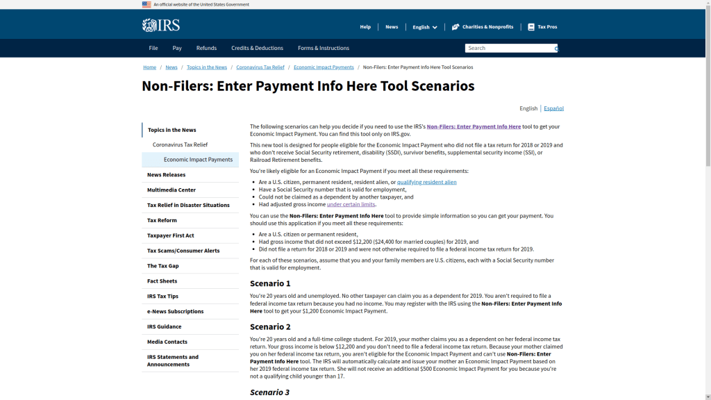 IRS Stimulus Payments for non filers tool scenarios