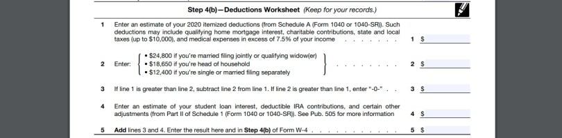 Deductions Worksheet w4 form 2020