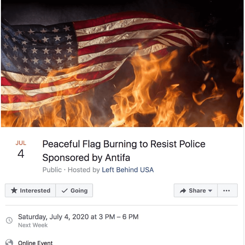 Flag Burning Eveent 4th of July Threat