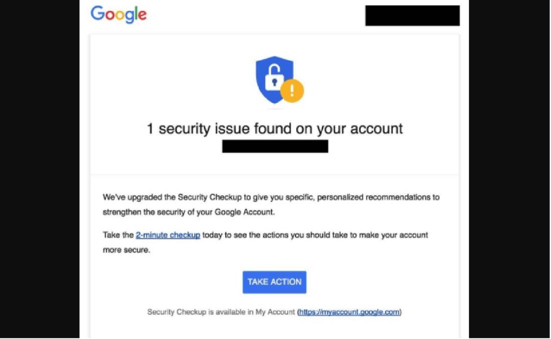 Googleセキュリティアラートは詐欺の画像