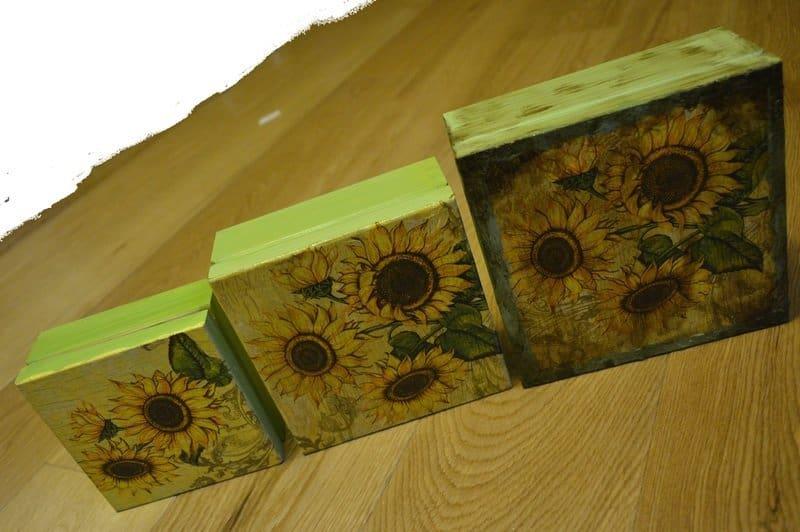 Trzy pudełka ze słonecznikami