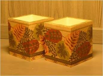 Jesienne pudełka na jesienne kredki 8 cm x 8 cm x 9.5 cm