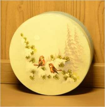 Okrągłe pudełko z motywem zimowym 14.5 cm średnicy