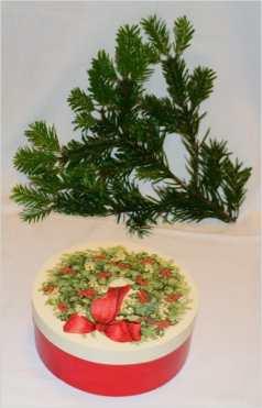 Pudełko okrągłe z zieleniną świąteczną, średnica 16 cm