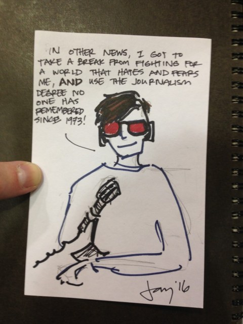"I HAD TO DRAW A ""CYCLOPS HAS A GOOD DAY"" SKETCH CARD AND I TOTALLY BLANKED. Also, I just realized his headphones don't have a cord. Ah, well--there's a reason we bill these as ""Bad drawings of your favorite X-Man."""