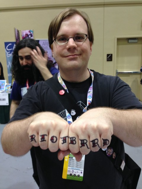 Jay's first sharpie knuckle tats of the day, for a friend who used to co-run one of our favorite video-game websites EVER in high school. HI, NICH! YOU ARE AWESOME!