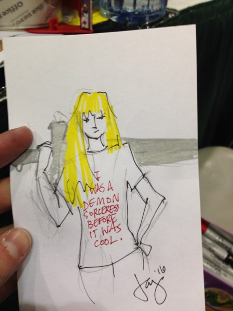 Jay drew Magik. This was part of a pair, but the other one's in Miles's phone, and we're tired, so we'll post it later.