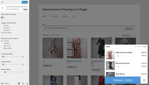 Live Preview - WooCommerce Floating Cart