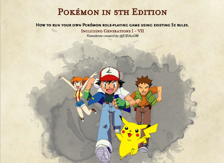 The cover page of Pokemon 5e