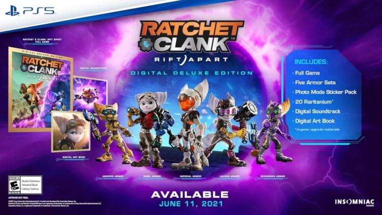 Ratchet & Clank: Rift Apart's digital deluce edition bonuses (Source: Sony).