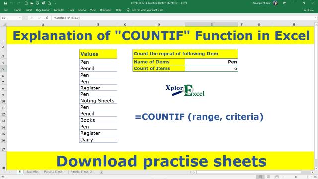 COUNTIF Excel Function - Download Practice Sheet