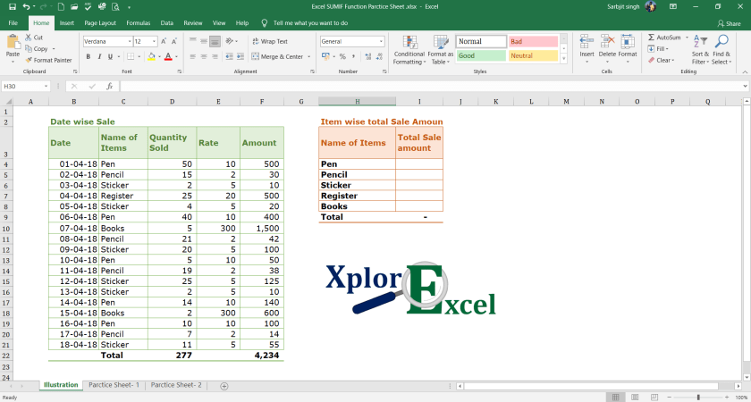 Excel SUMIF Function - Example-min