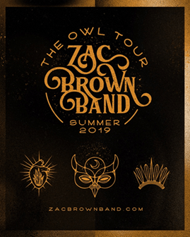 "Zac Brown Band Announces Summer 2019 outing, ""The Owl Tour."""