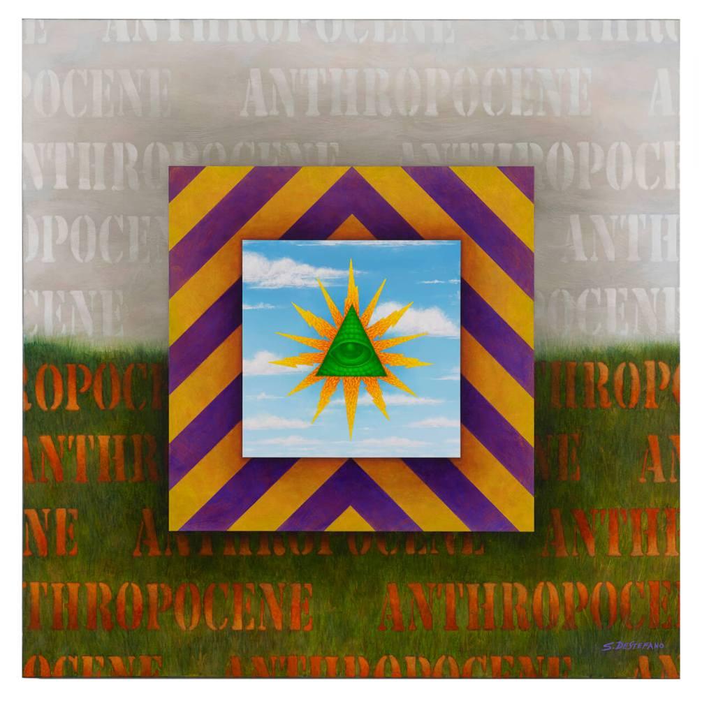 "ANTHROPOCENE TRIPTYCH #2 - acrylic on canvas, 36""x36"""