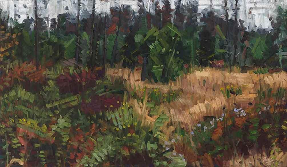 John Harris - Monhegan Field, 2009 Oil on Canvas 34x20