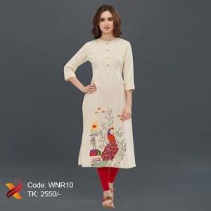 Embroidered Linen Kurti