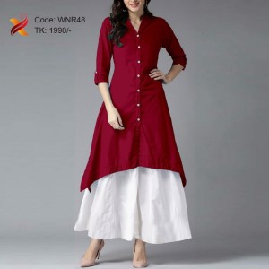 Linen Casual Kurti with off white Palazzo