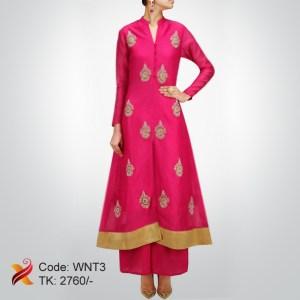 Linen Embroidered Pink Kurti